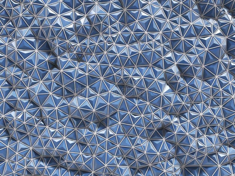 Het abstracte 3d teruggeven van blauwe oppervlakteachtergrond met futuristisch vector illustratie