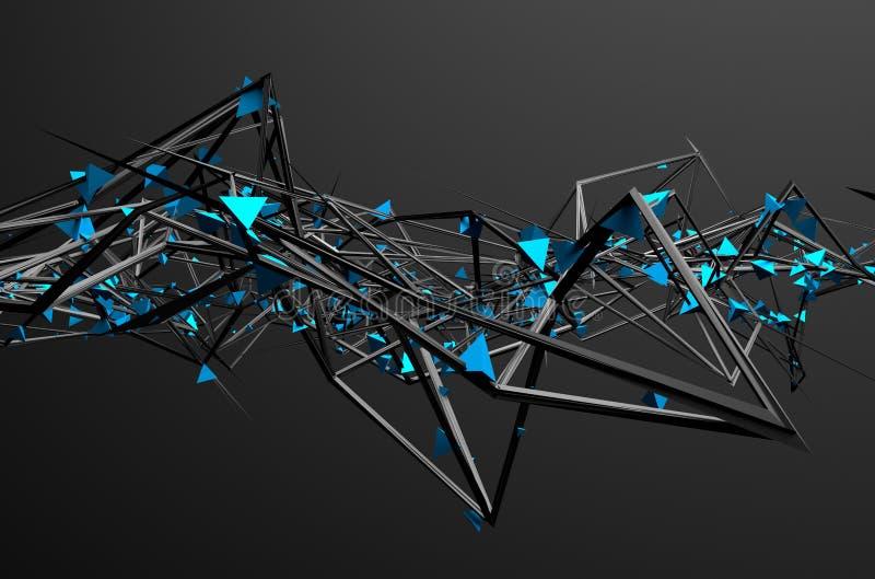 Het abstracte 3d teruggeven van chaotische structuur royalty-vrije illustratie