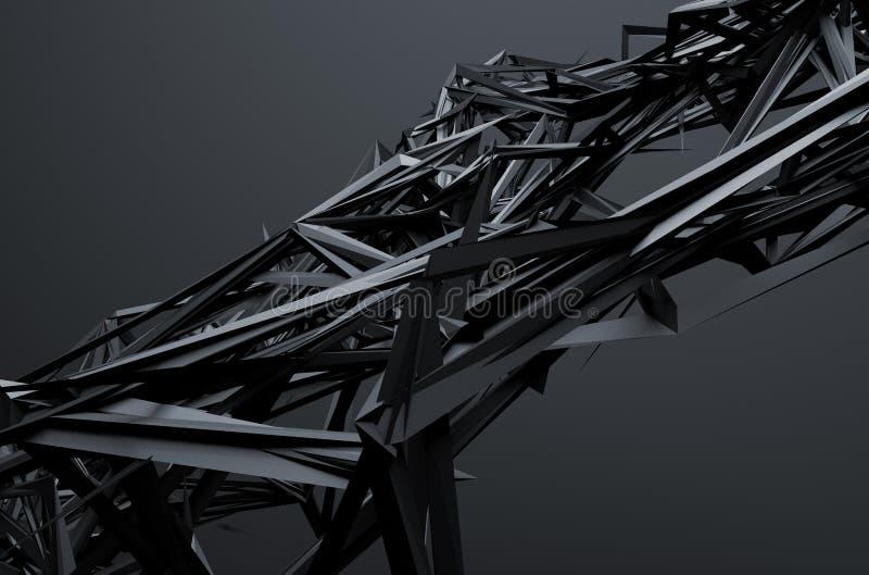 Het abstracte 3d teruggeven van chaotische structuur stock illustratie