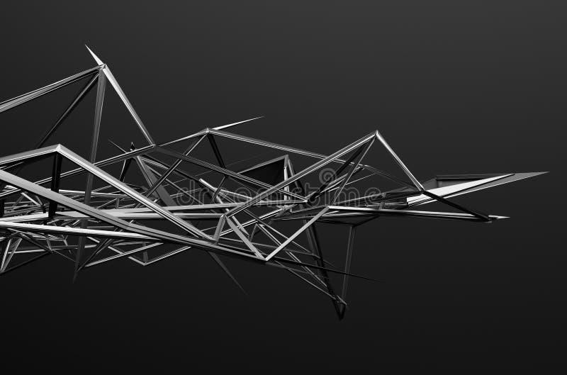 Het abstracte 3d teruggeven van chaotische structuur vector illustratie
