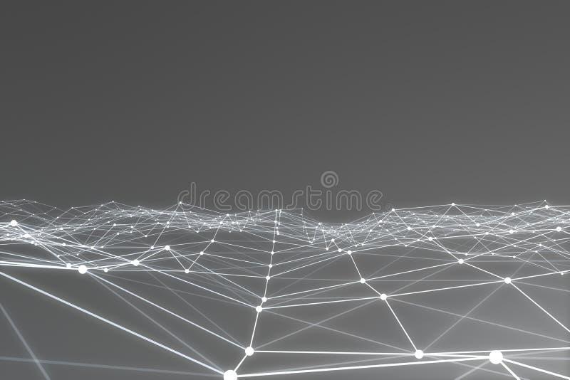 Het abstracte 3d teruggeven van chaotische structuur Lichte achtergrond met lijnen en gebieden in lege ruimte Futuristische vorm royalty-vrije illustratie
