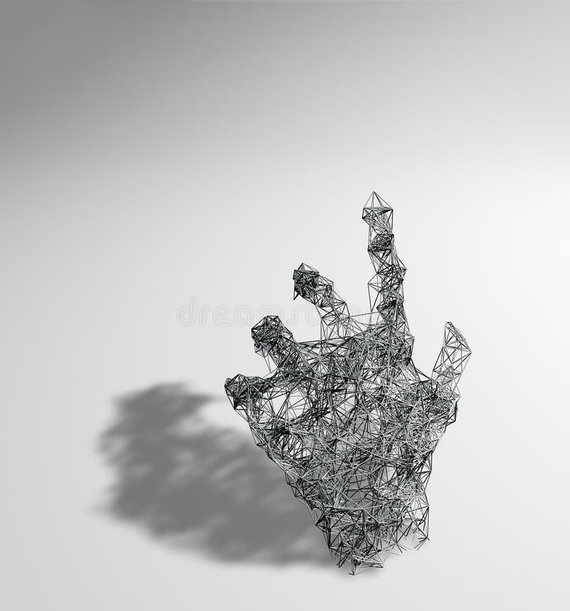 Het abstracte 3d teruggeven van chaotische vlechtoppervlakte in vorm van hand, Eigentijdse achtergrond met futuristische veelhoek vector illustratie