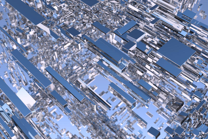Het abstracte 3d teruggeven van chroomvormen tegen hemel vector illustratie