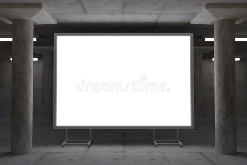 Het abstracte 3d teruggeven van gloeiend aanplakbord in industriële ruimte stock illustratie