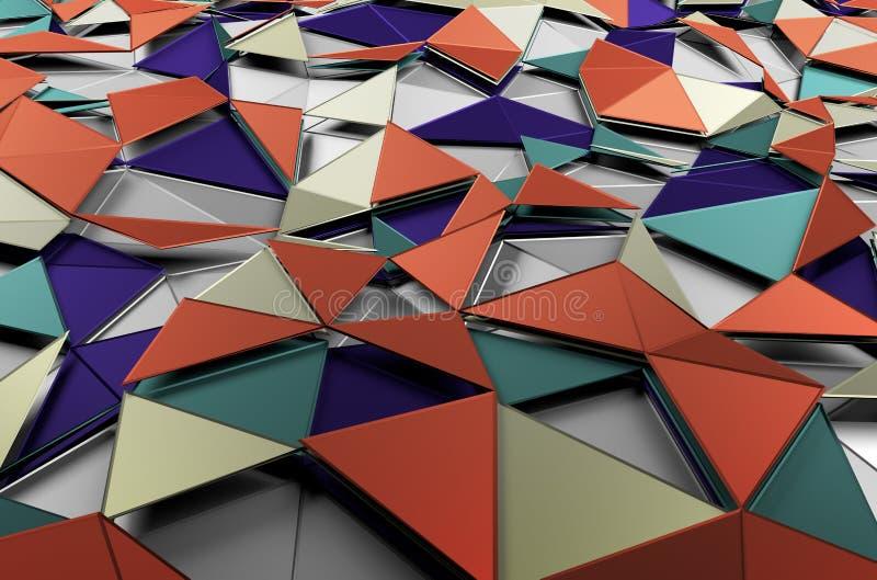Het abstracte 3d teruggeven van lage poly gekleurde oppervlakte vector illustratie