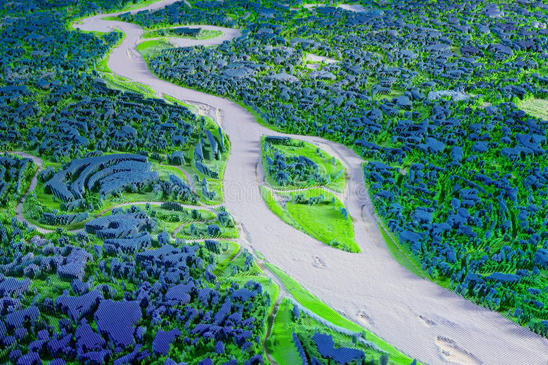 Het abstracte 3d teruggeven van landschap met rivier royalty-vrije illustratie
