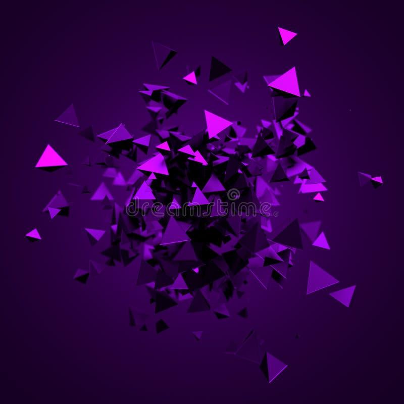Het abstracte 3D Teruggeven van Vliegende Driehoeken vector illustratie