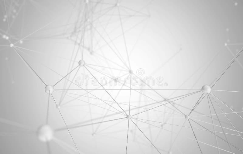 Het abstracte 3d teruggeven voor de molecule van wetenschappelijke of technologiepresentaties en communicatie achtergrond royalty-vrije illustratie