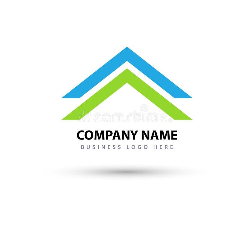 Het abstracte dak van het onroerende goederenHuis en van het het bedrijfs elementenpictogram van het huisembleem vectorembleem, p stock illustratie