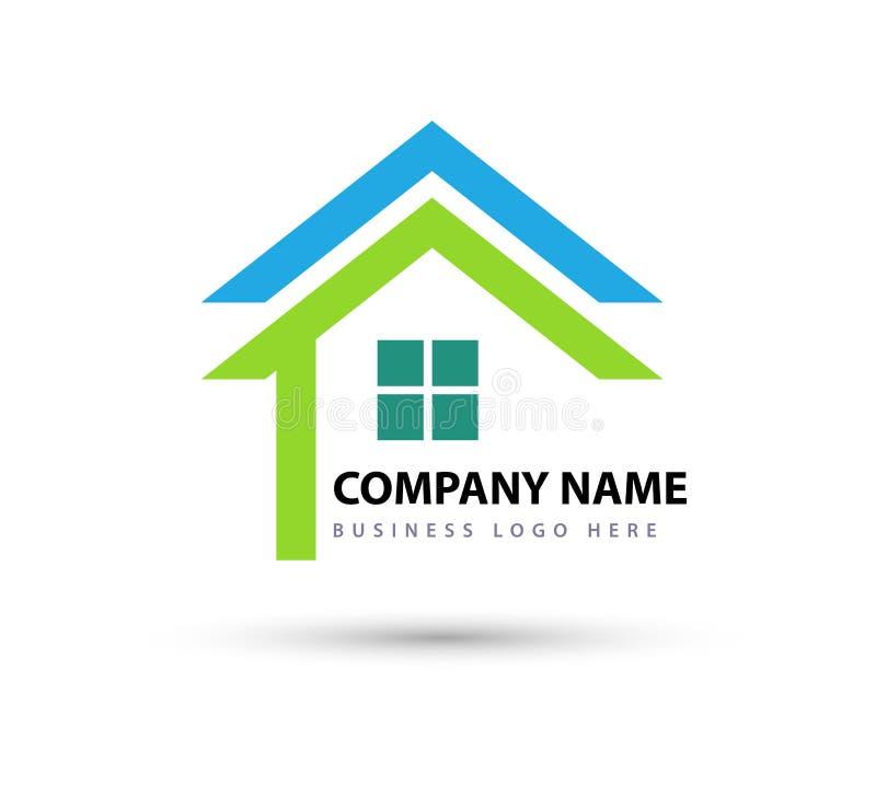 Het abstracte dak van het onroerende goederenHuis en van het het bedrijfs elementenpictogram van het huisembleem vectorembleem, p royalty-vrije illustratie