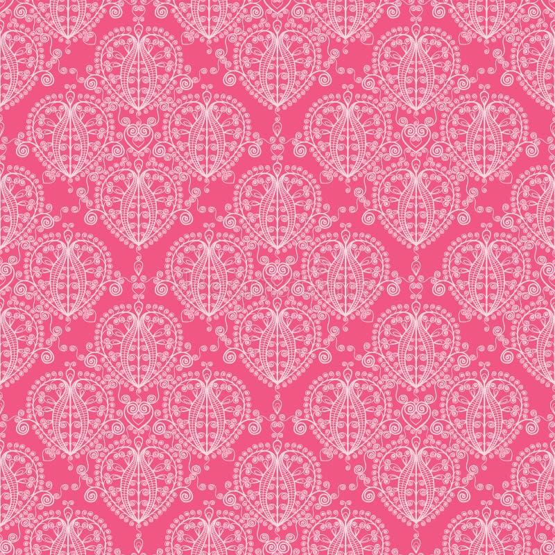 Het abstracte damast wervelt naadloze patroonachtergrond vector illustratie