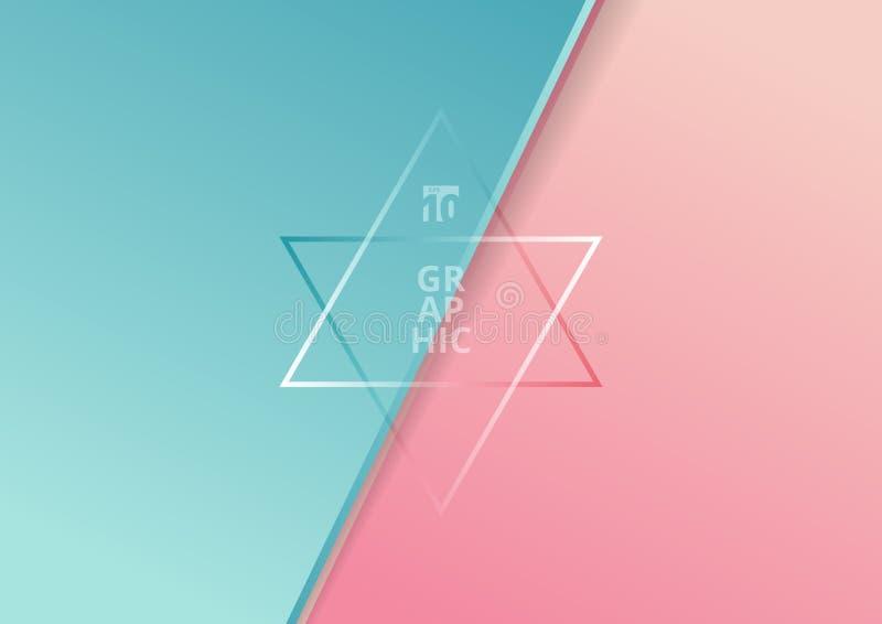 Het abstracte diagonale document sneed de kleuren mooie achtergrond van de stijl blauwe en roze gradiënt met ruimte voor tekst U  stock illustratie