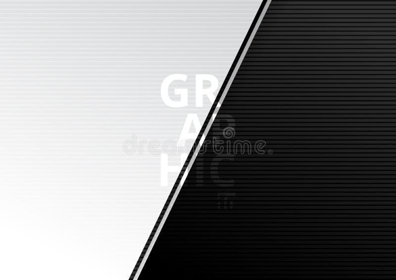 Het abstracte diagonale document sneed de kleuren mooie achtergrond van de stijl witte en zwarte gradiënt en horizontale lijnente royalty-vrije illustratie