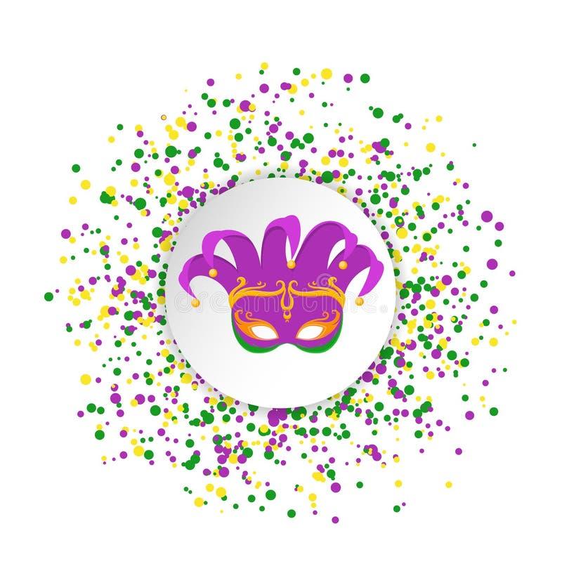 Het abstracte die patroon van Mardi Gras van gekleurde punten op witte achtergrond met gekleurd clownmasker in centrum wordt gema vector illustratie