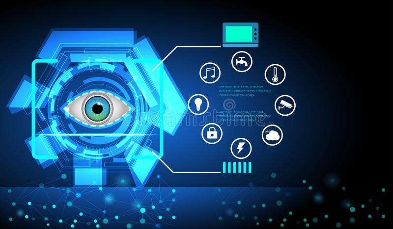 Het abstracte Digitale futuristische gebruikersinterface van sc.i-FI van het oogaftasten De achtergrond van de technologie stock illustratie