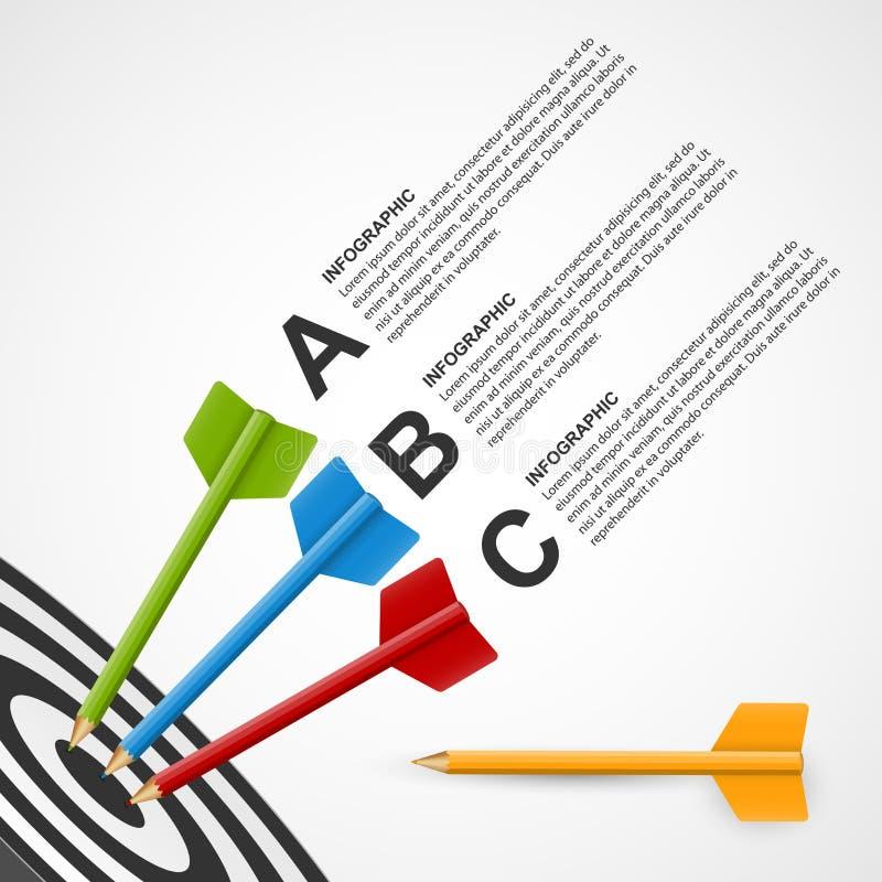 Het abstracte doel van het onderwijs infographic malplaatje met potloden royalty-vrije illustratie