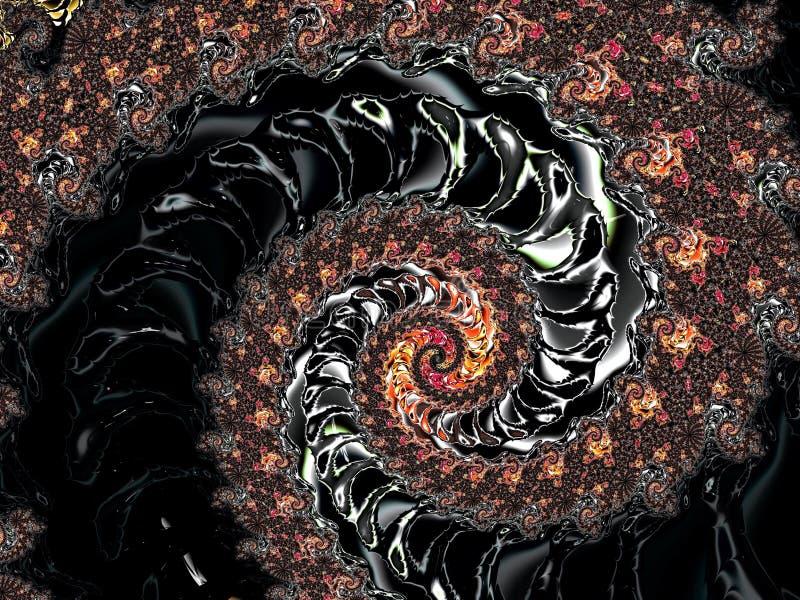 Het abstracte donkere geweven spiraalvormige fractal 3d patroon, geeft voor affiche, ontwerp en vermaak terug Achtergrond voor br royalty-vrije illustratie