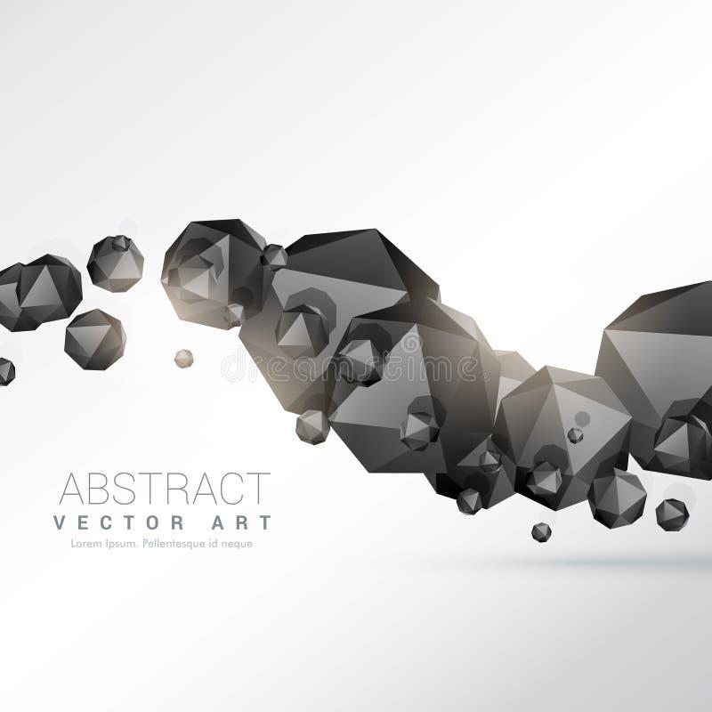 Het abstracte drijvende zwarte veelvlak geeft 3d voorwerpen gestalte stock illustratie
