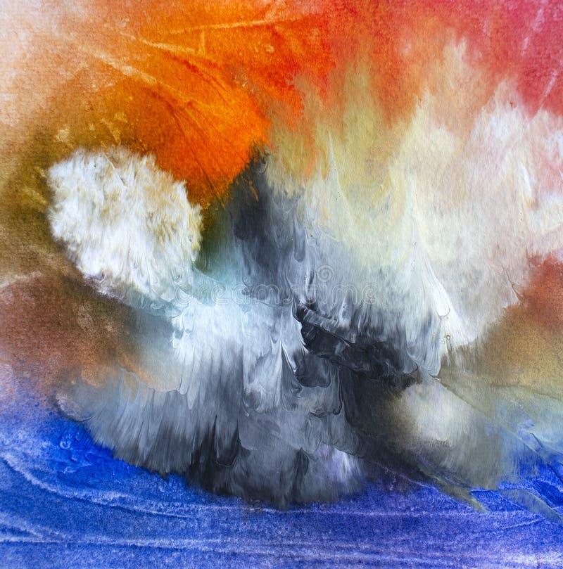 Het abstracte eiland van de olie moderne eigentijdse kunst in de wolken stock afbeelding