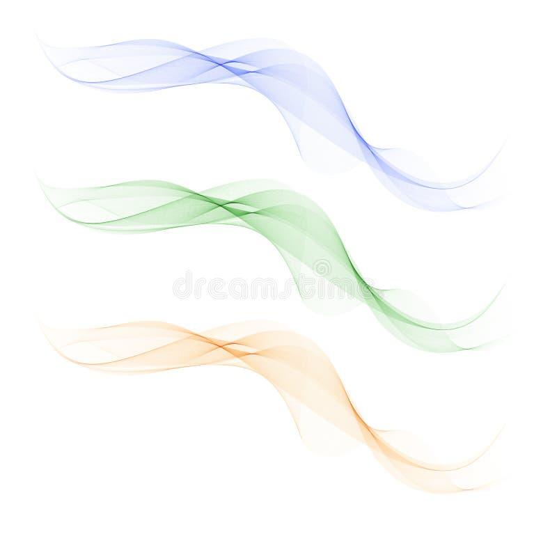 Het abstracte element van het golfontwerp Transparante kleurrijke golven De beweging van de golftextuur royalty-vrije illustratie