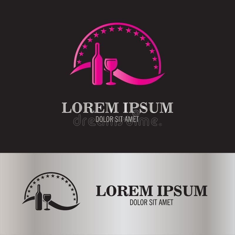 Het abstracte embleem van het wijnsymbool vector illustratie