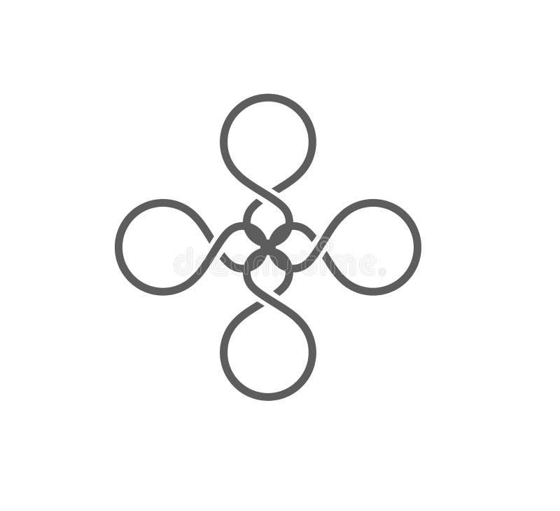 Het abstracte het embleemmalplaatje van de bloemvorm, Kleurrijke 8 vormde, gestalte gegeven oneindigheid, gebied vectorontwerp vector illustratie