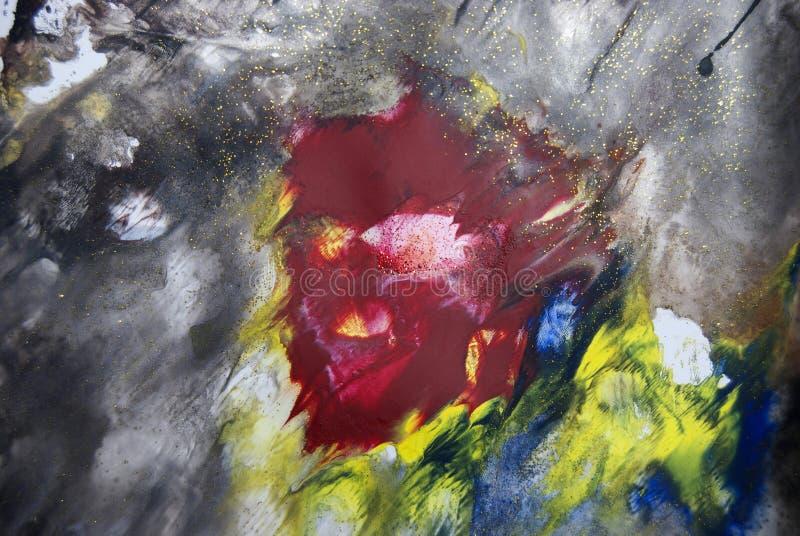 Het abstracte en kleurrijke schilderen met textuurdetails stock illustratie