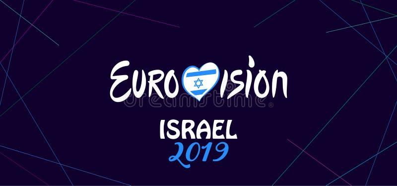 2019 het Abstracte Eurovisie-van het de Muziekfestival van de Liedwedstrijd Internationale vuurwerk Israël stock illustratie