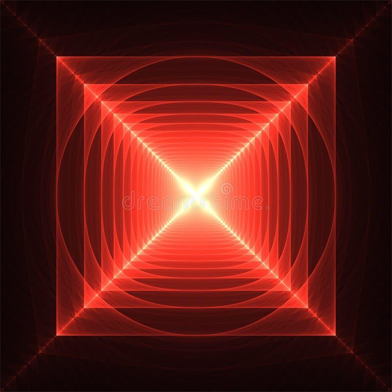 Het abstracte fractal rode licht van kunst grappige geroteerde vierkanten royalty-vrije illustratie