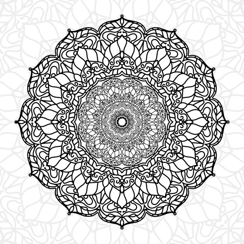 Het abstracte gebruik van de mandala unieke textuur voor behangdruk en decorelement, ramadan kareem, ied muabrak, tatoegering, di royalty-vrije illustratie