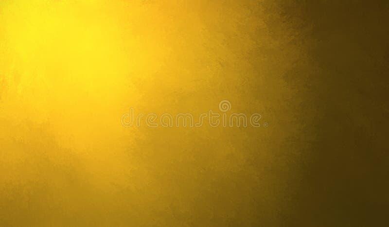 Het abstracte gele gouden ontwerp als achtergrond, grens heeft donkere kleurenranden van zwarte, zon of zonneschijnschijnwerper m royalty-vrije illustratie