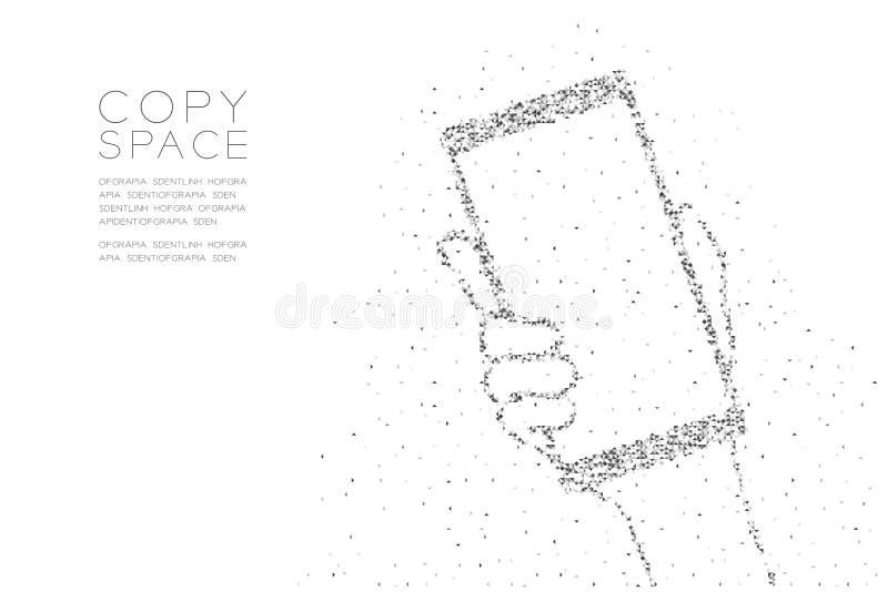 Het abstracte Geometrische Lage pixel van de veelhoek vierkante doos en van de de Handholding van het Driehoekspatroon smartphone vector illustratie