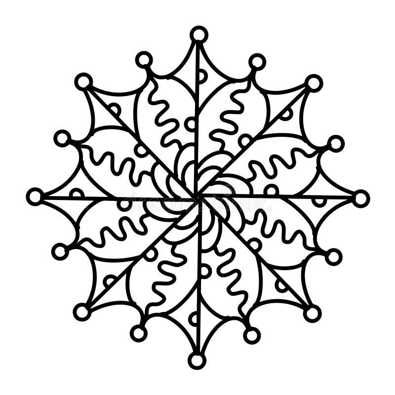 Het abstracte geometrische ornament van elementenmandalas Hand getrokken illustratie Zwarte inktwit geïsoleerde achtergrond Twijg stock illustratie