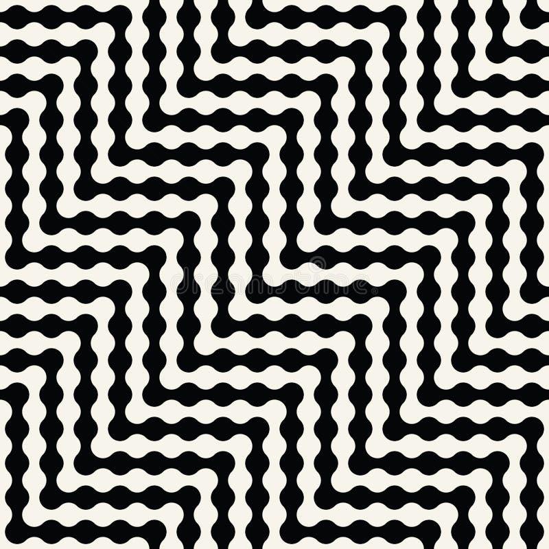 Het abstracte geometrische zwart-witte grafische patroon van de ontwerp optische illusie stock illustratie