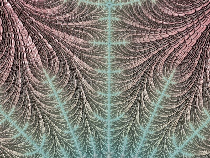 Het abstracte geweven roze en turkooise fractal 3d patroon, geeft voor ontwerp en vermaak terug Achtergrond voor brochure en affi stock illustratie