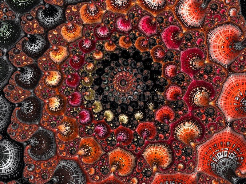 Het abstracte geweven spiraalvormige fractal patroon in 3d de herfstkleuren, geeft voor affiche, ontwerp en vermaak terug Achterg stock illustratie