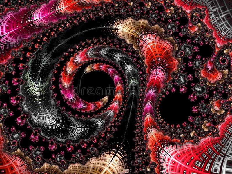 Het abstracte geweven spiraalvormige fractal patroon in 3d de herfstkleuren, geeft voor affiche, ontwerp en vermaak terug Achterg vector illustratie