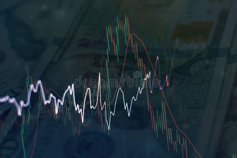 Het abstracte gloeiende forex behang van de grafiekinterface Investering, handels, voorraad, financiën en analyseconcept royalty-vrije stock foto
