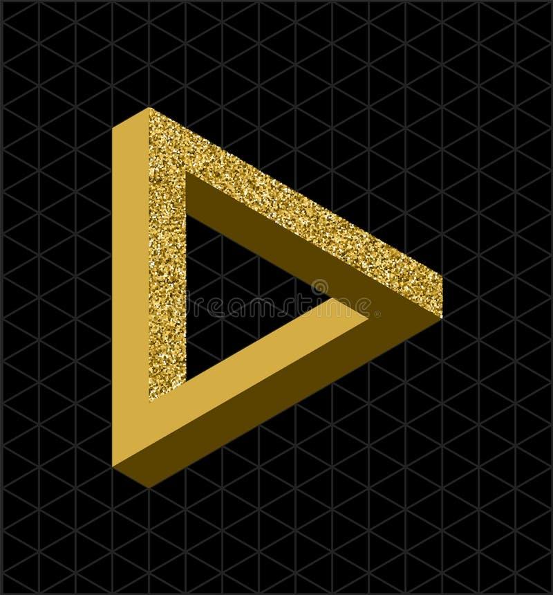 Het abstracte goud schittert onmogelijke driehoeksvorm vector illustratie