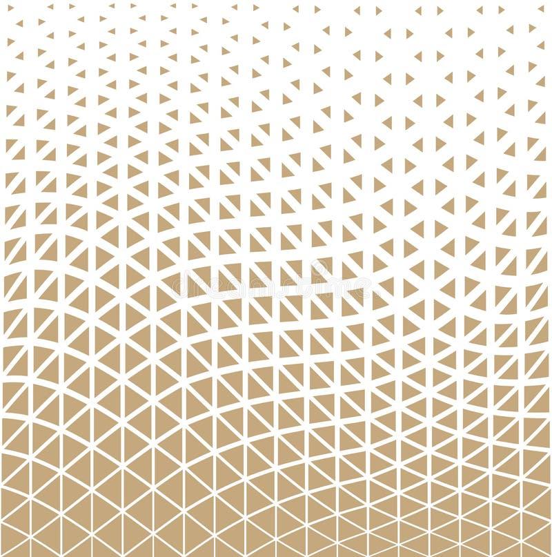 Het abstracte gouden geometrische halftone patroon van het driehoeksontwerp stock illustratie