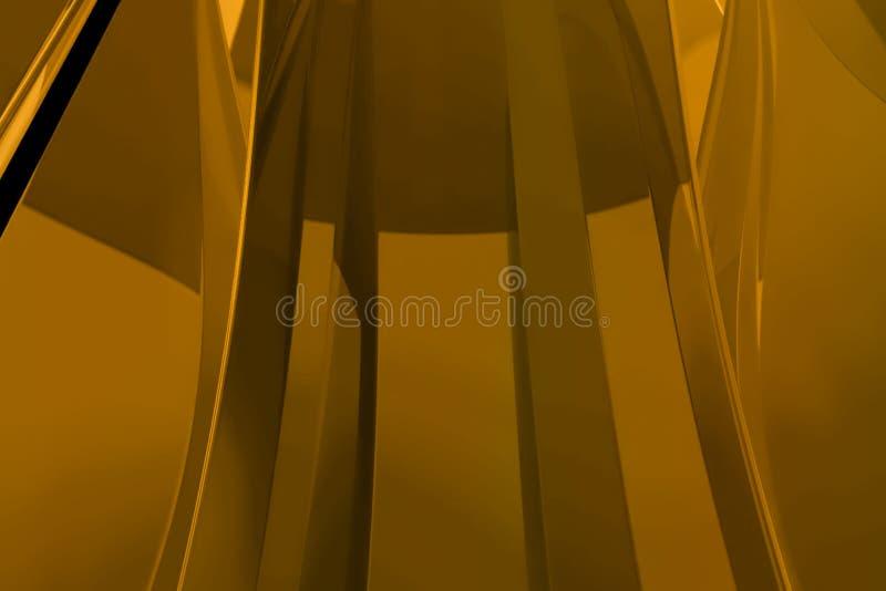 Het abstracte gouden metaalstoffen geometrische vorm gouden golven stock illustratie