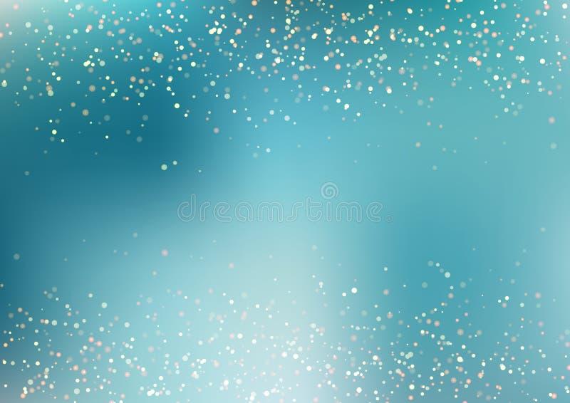 Het abstracte gouden vallen schittert lichtentextuur op blauwe turkooise achtergrond met verlichting Magisch stofgoud en glans fe royalty-vrije illustratie