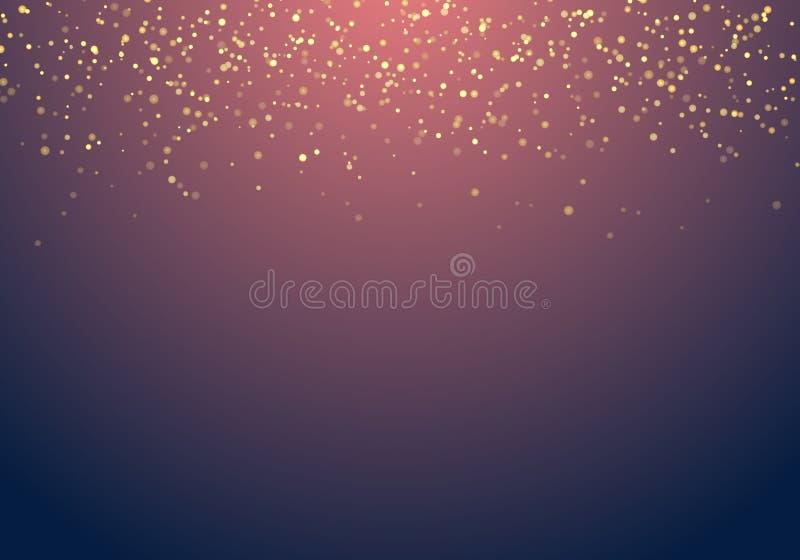 Het abstracte gouden vallen schittert lichtentextuur op donkerblauwe bedelaars vector illustratie