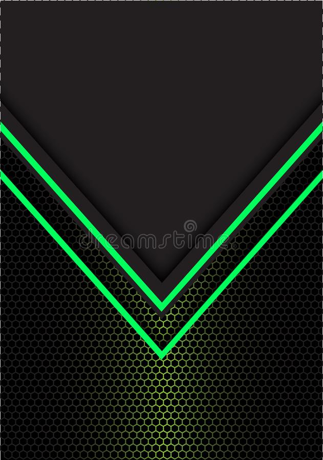 Het abstracte groene hexagon netwerk van de pijl lichte richting met donkergrijze lege ruimteontwerp moderne futuristische vector vector illustratie