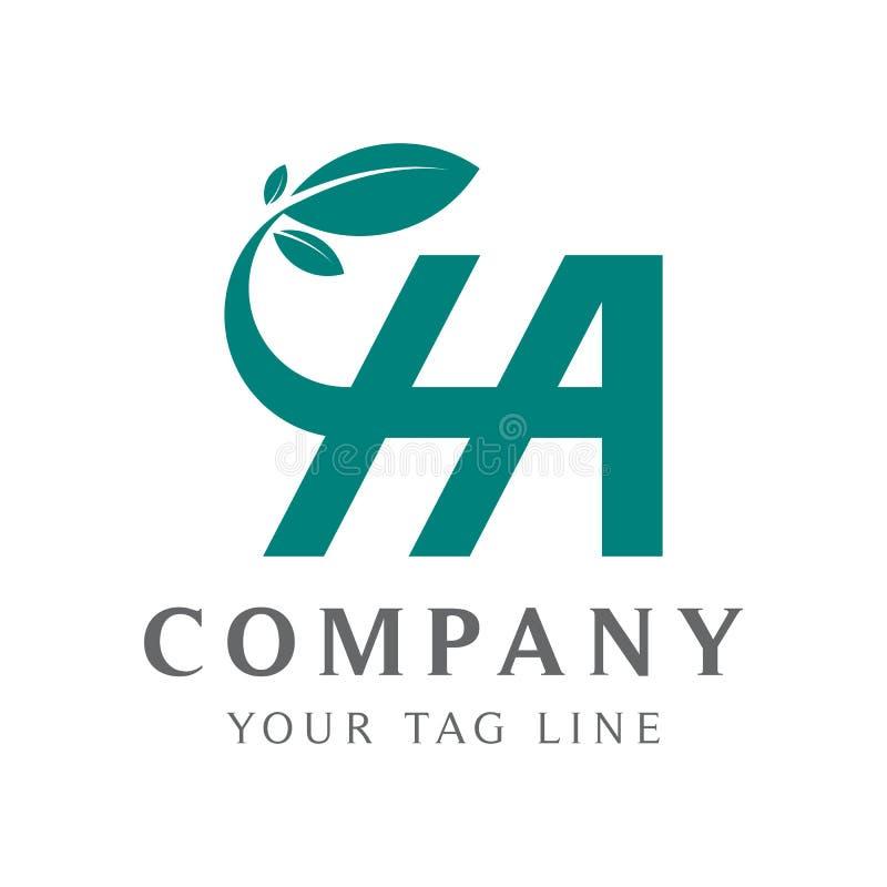 Het abstracte Ha-embleem, met kleurengradaties, het verbinden verlaat A en H royalty-vrije illustratie