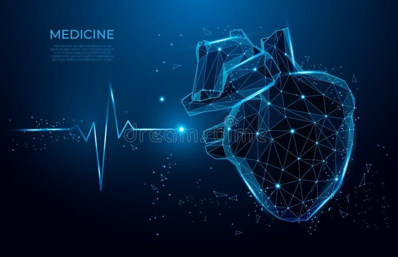Het abstracte hart sloeg vormlijnen en driehoeken, punt verbindend netwerk op blauwe achtergrond 3d geneeskunde model lage poly vector illustratie