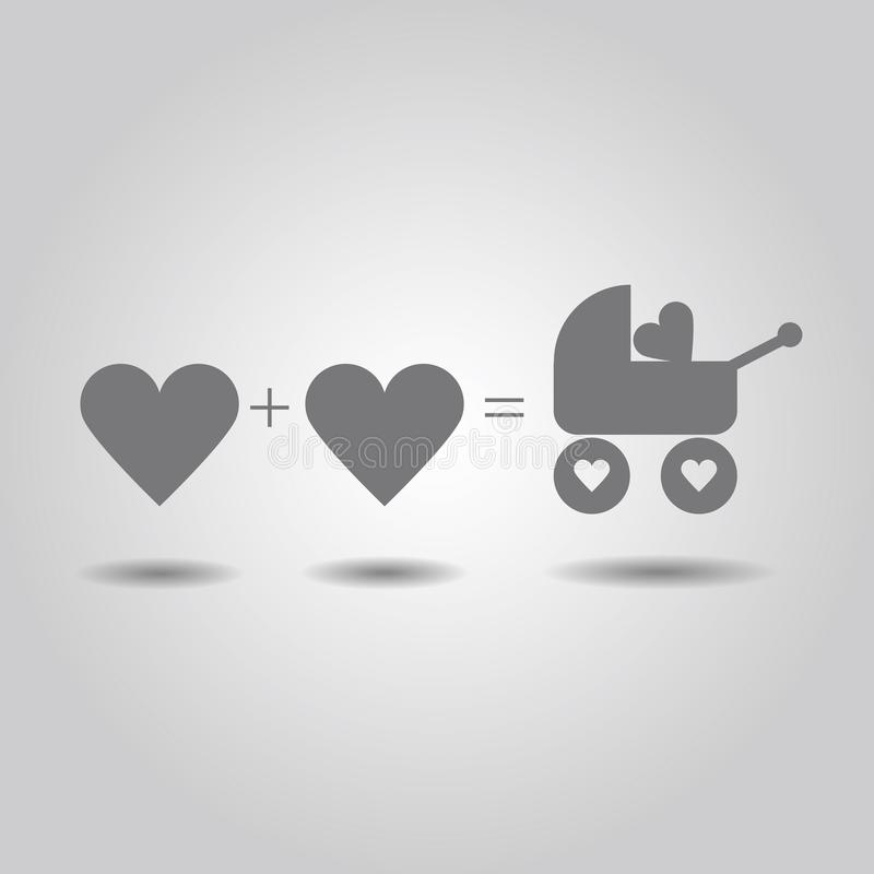Het abstracte hart van de familieliefde - Hartouders en B stock illustratie
