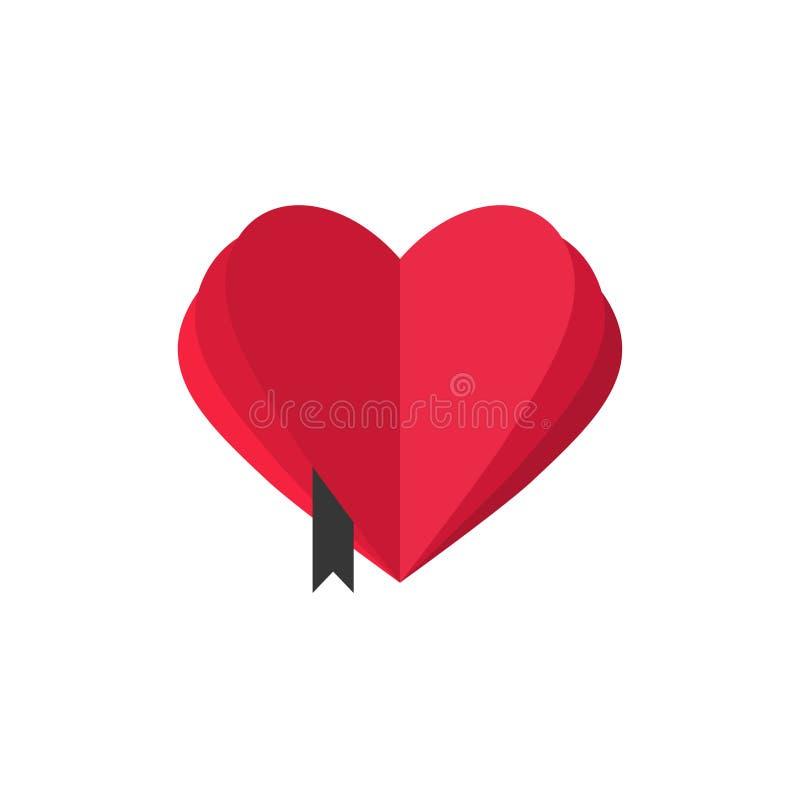 Het abstracte hart vormde boek met het open malplaatje van het pagina's vectorembleem, het symbool van de boekliefde, leeswijzer, royalty-vrije illustratie