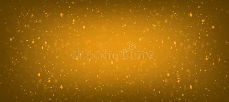 Het abstracte honings oranje onduidelijke beeld schittert de plonslichten van confettien gouden bokeh met de samenstellingsachter vector illustratie