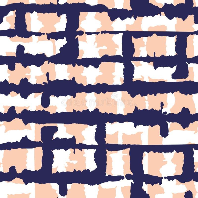 Het abstracte Horizontale Donkerblauwe band-Kleurstof Shibori-Vector Naadloze Patroon van Strepenbackrgound vector illustratie
